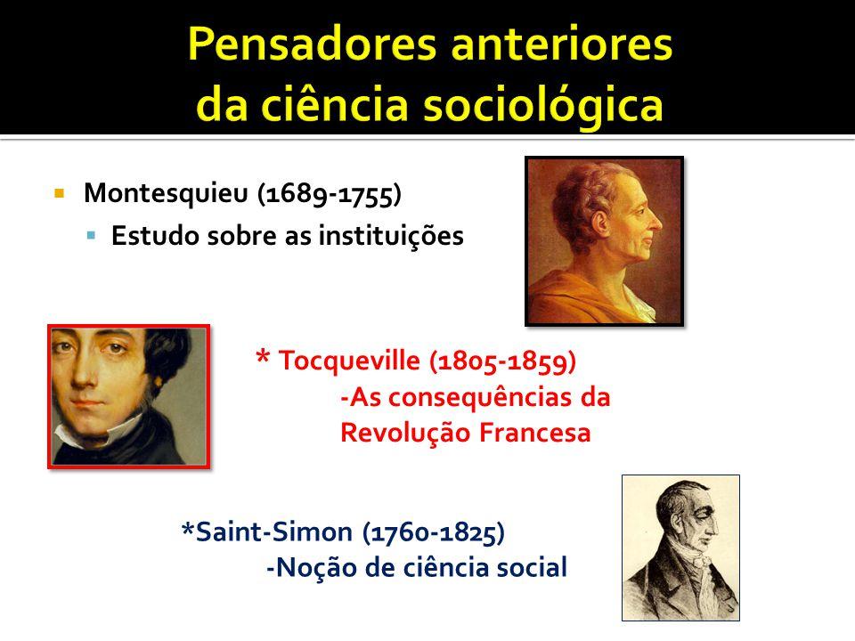 Pensadores anteriores da ciência sociológica