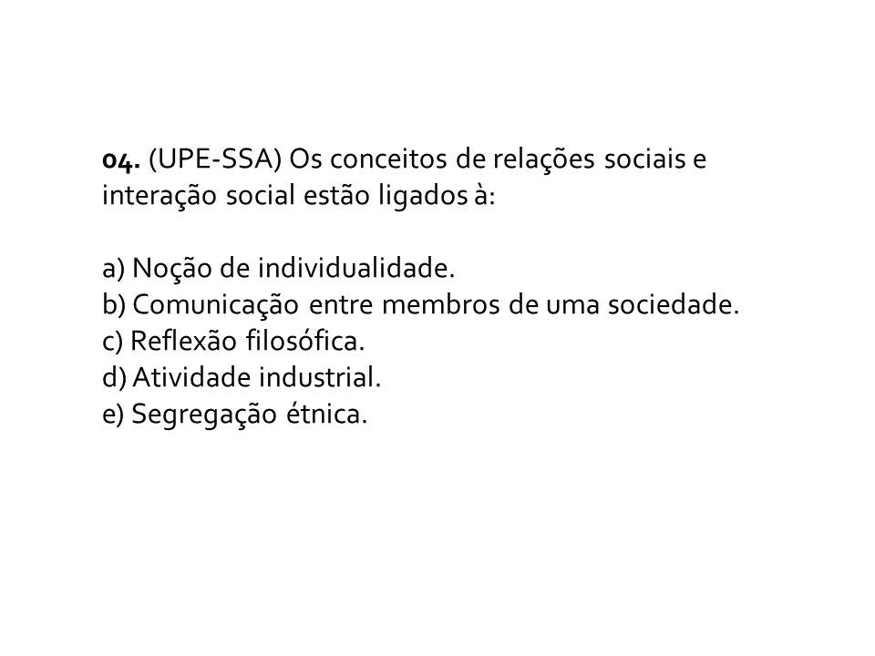 04. (UPE-SSA) Os conceitos de relações sociais e interação social estão ligados à: