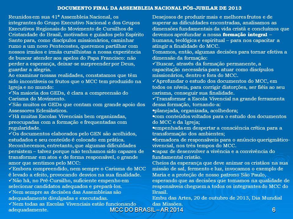 DOCUMENTO FINAL DA ASSEMBLEIA NACIONAL PÓS-JUBILAR DE 2013
