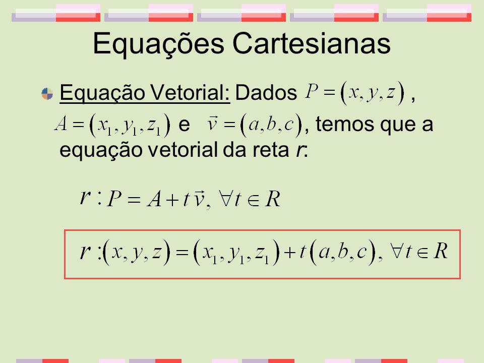 Equações Cartesianas Equação Vetorial: Dados ,