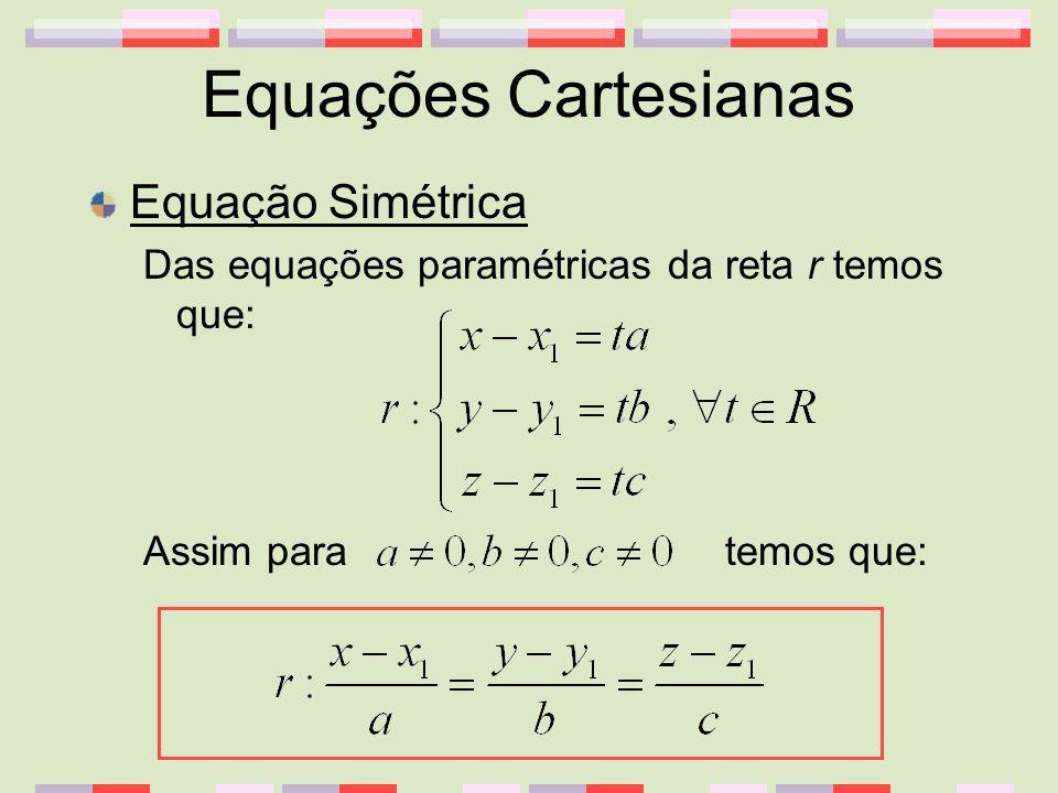 Equações Cartesianas Equação Simétrica