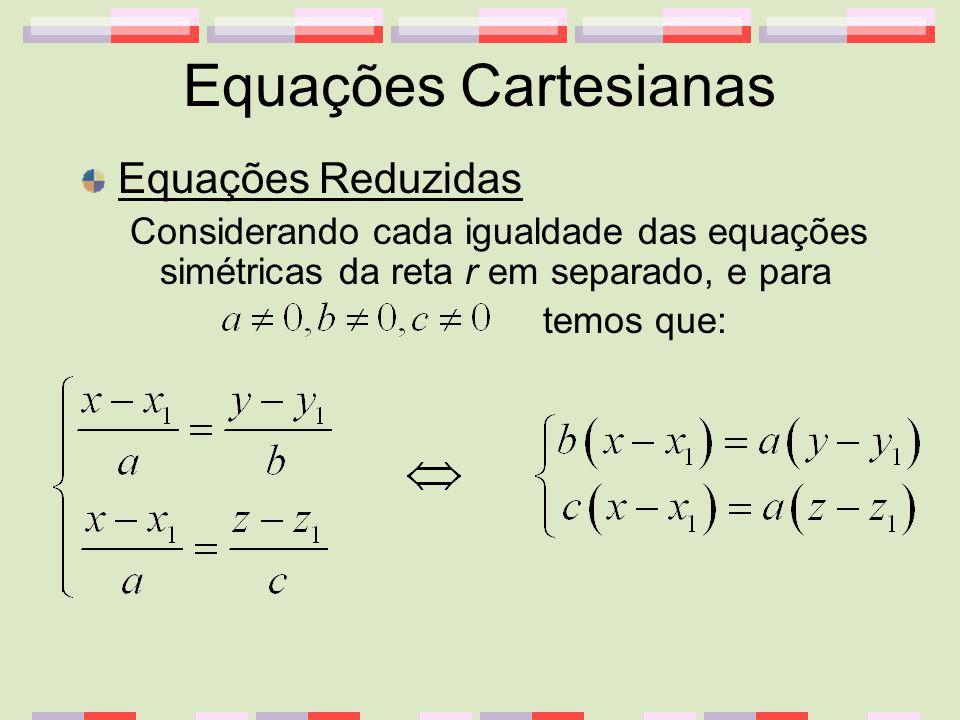 Equações Cartesianas Equações Reduzidas