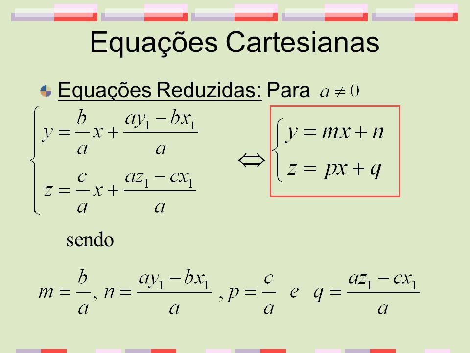 Equações Cartesianas Equações Reduzidas: Para sendo