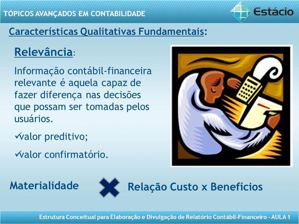 Relevância: Materialidade Relação Custo x Benefícios