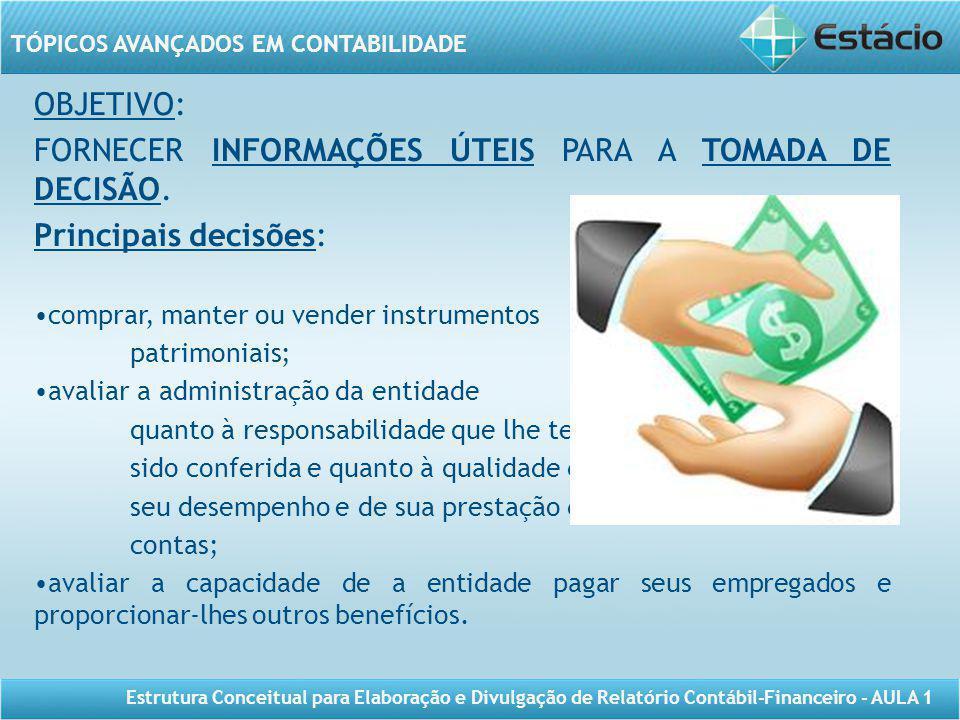 FORNECER INFORMAÇÕES ÚTEIS PARA A TOMADA DE DECISÃO.
