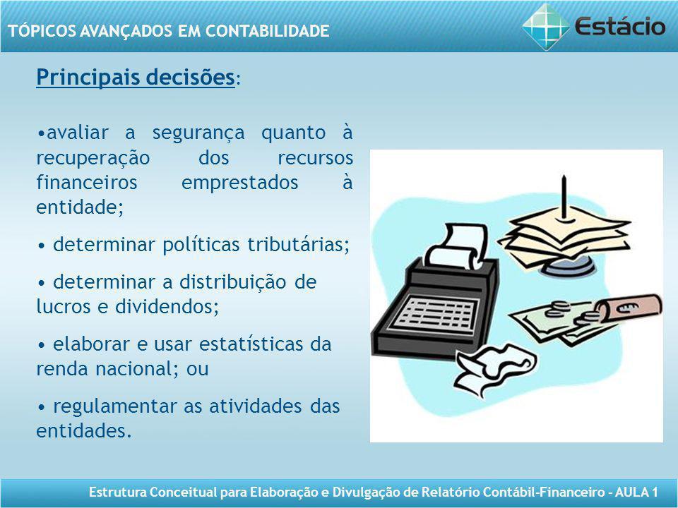 Principais decisões: avaliar a segurança quanto à recuperação dos recursos financeiros emprestados à entidade;
