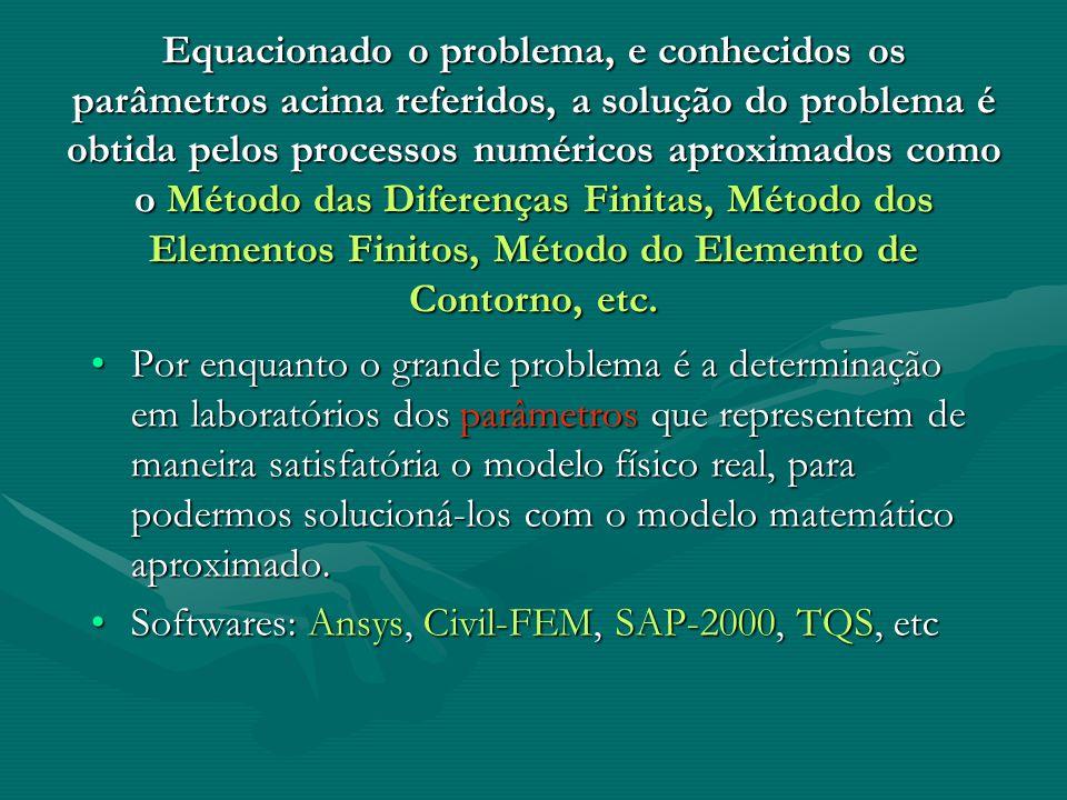 Equacionado o problema, e conhecidos os parâmetros acima referidos, a solução do problema é obtida pelos processos numéricos aproximados como o Método das Diferenças Finitas, Método dos Elementos Finitos, Método do Elemento de Contorno, etc.