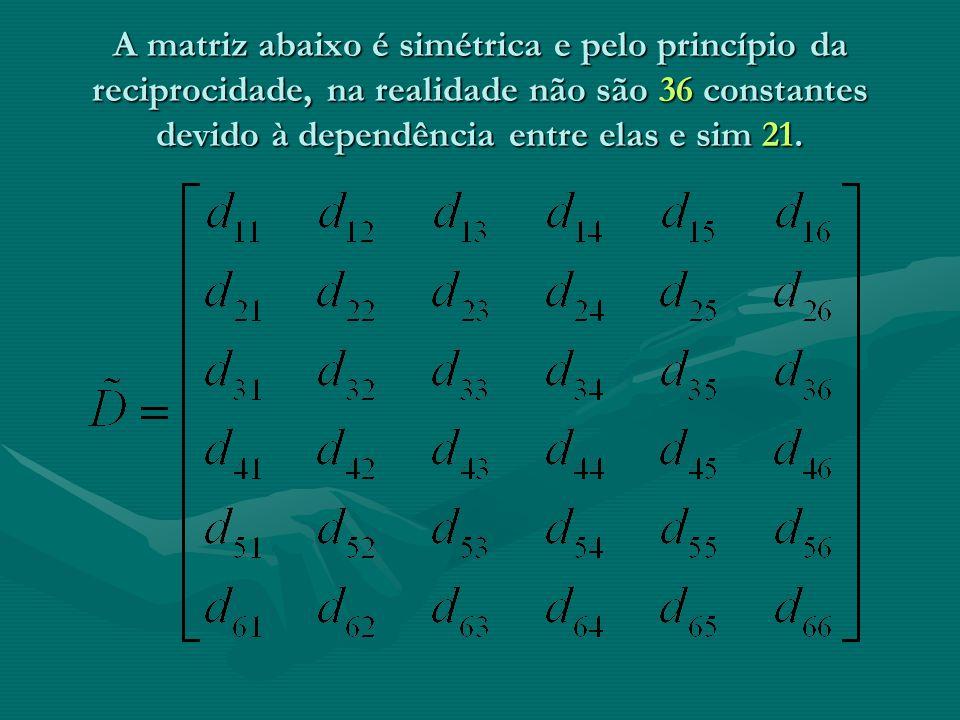 A matriz abaixo é simétrica e pelo princípio da reciprocidade, na realidade não são 36 constantes devido à dependência entre elas e sim 21.