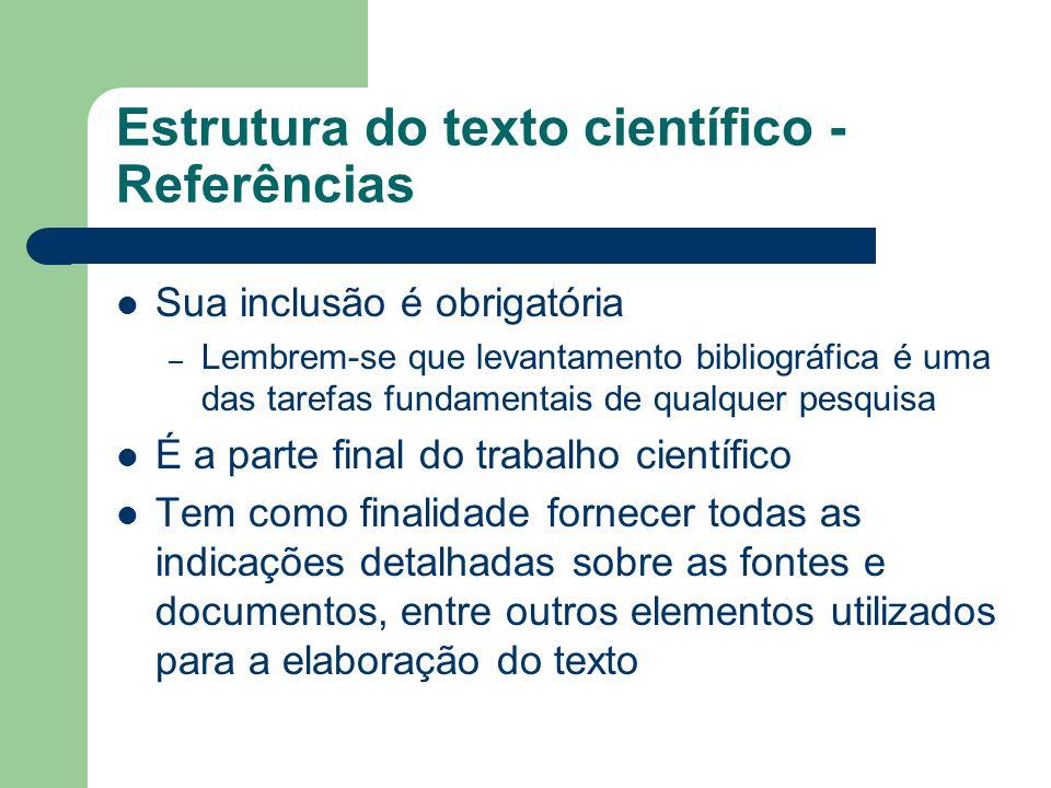 Estrutura do texto científico - Referências
