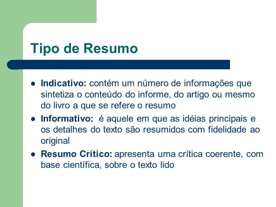 Tipo de Resumo Indicativo: contém um número de informações que sintetiza o conteúdo do informe, do artigo ou mesmo do livro a que se refere o resumo.