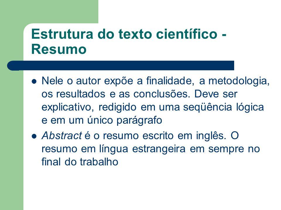 Estrutura do texto científico - Resumo