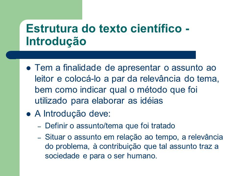 Estrutura do texto científico - Introdução