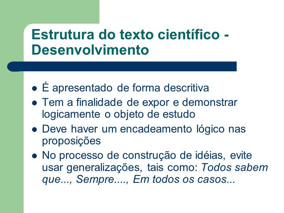 Estrutura do texto científico - Desenvolvimento