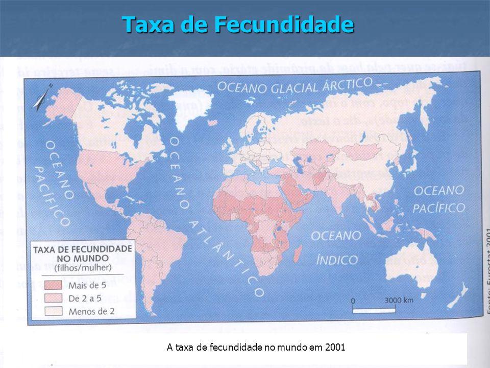 A taxa de fecundidade no mundo em 2001
