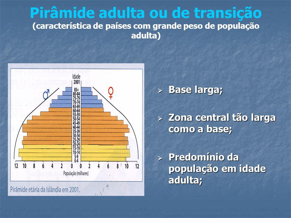 Pirâmide adulta ou de transição (característica de países com grande peso de população adulta)