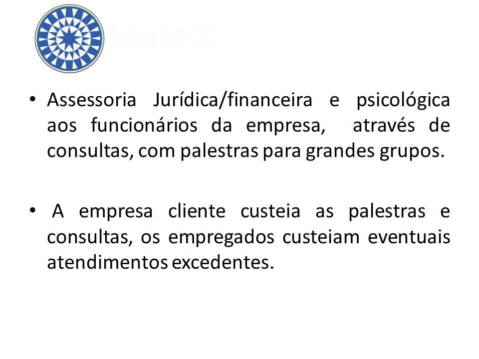 Módulo 2 Assessoria Jurídica/financeira e psicológica aos funcionários da empresa, através de consultas, com palestras para grandes grupos.