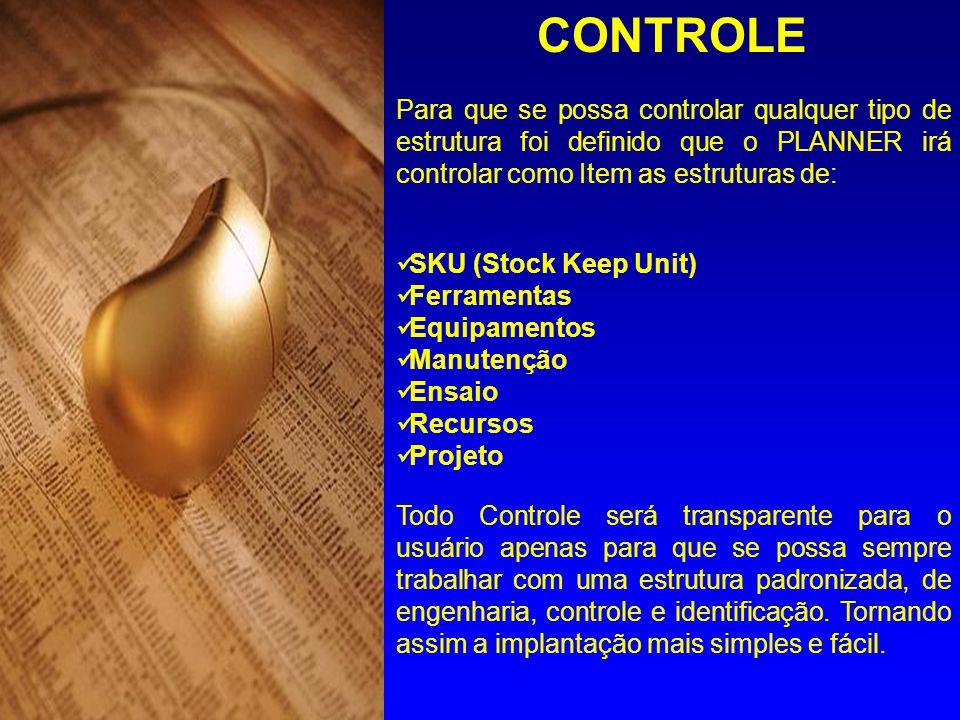 CONTROLE Para que se possa controlar qualquer tipo de estrutura foi definido que o PLANNER irá controlar como Item as estruturas de: