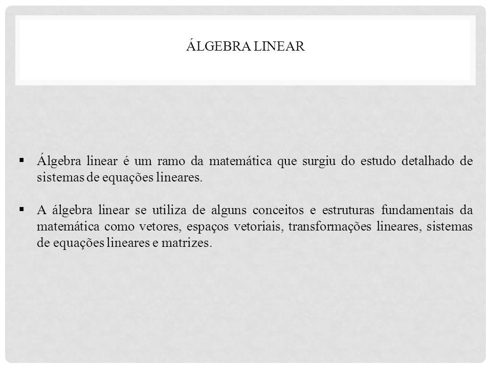 ÁLGEBRA LINEAR Álgebra linear é um ramo da matemática que surgiu do estudo detalhado de sistemas de equações lineares.