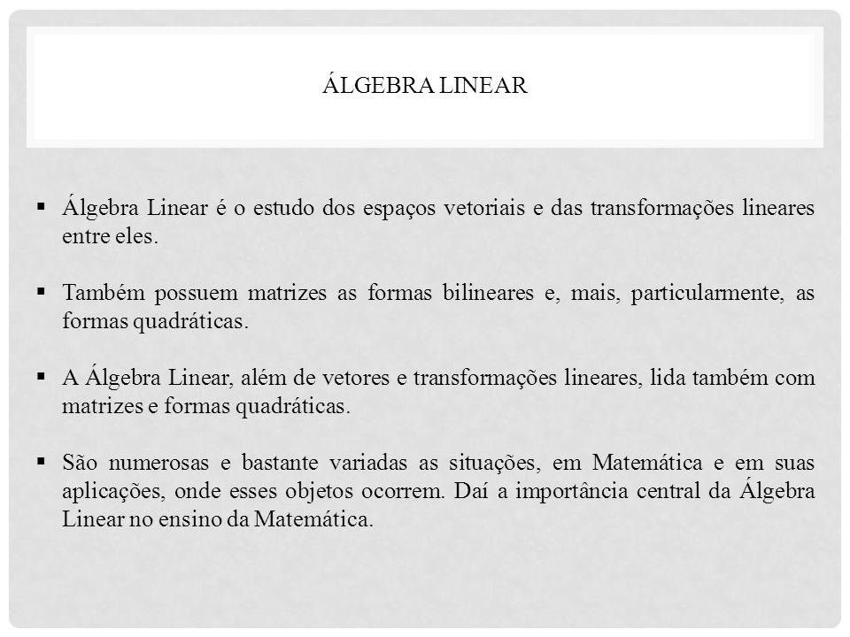 ÁLGEBRA LINEAR Álgebra Linear é o estudo dos espaços vetoriais e das transformações lineares entre eles.