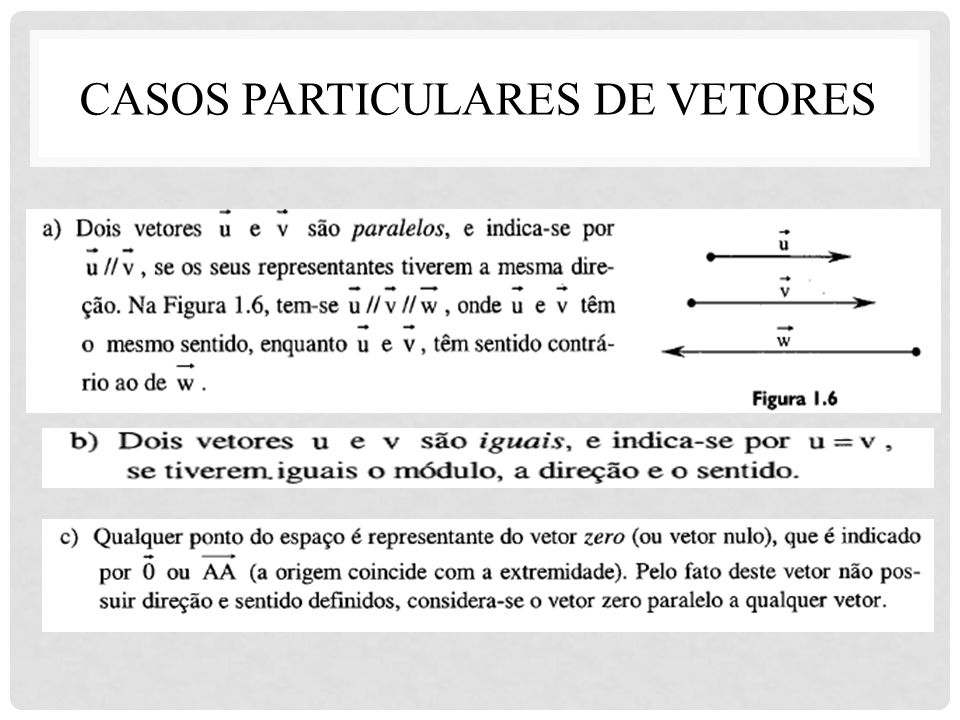 Casos particulares de vetores