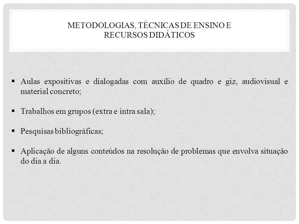 METODOLOGIAS, TÉCNICAS DE ENSINO E RECURSOS DIDÁTICOS
