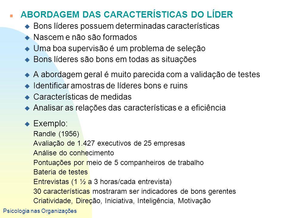 ABORDAGEM DAS CARACTERÍSTICAS DO LÍDER