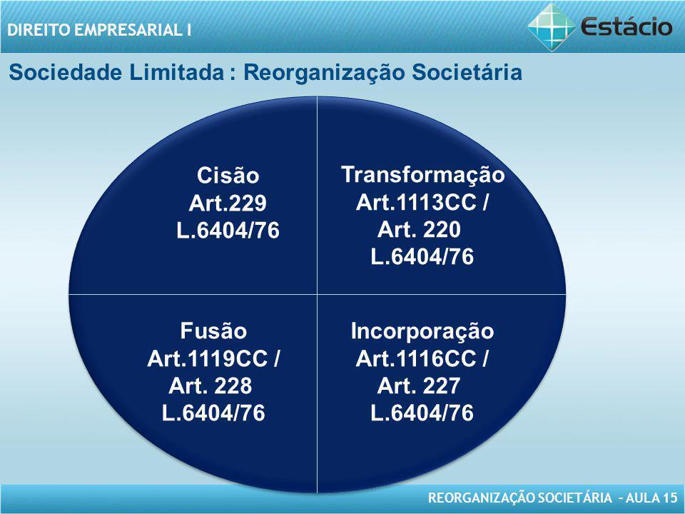 Sociedade Limitada : Reorganização Societária
