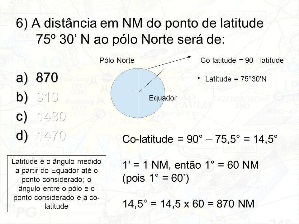 6) A distância em NM do ponto de latitude 75º 30' N ao pólo Norte será de: