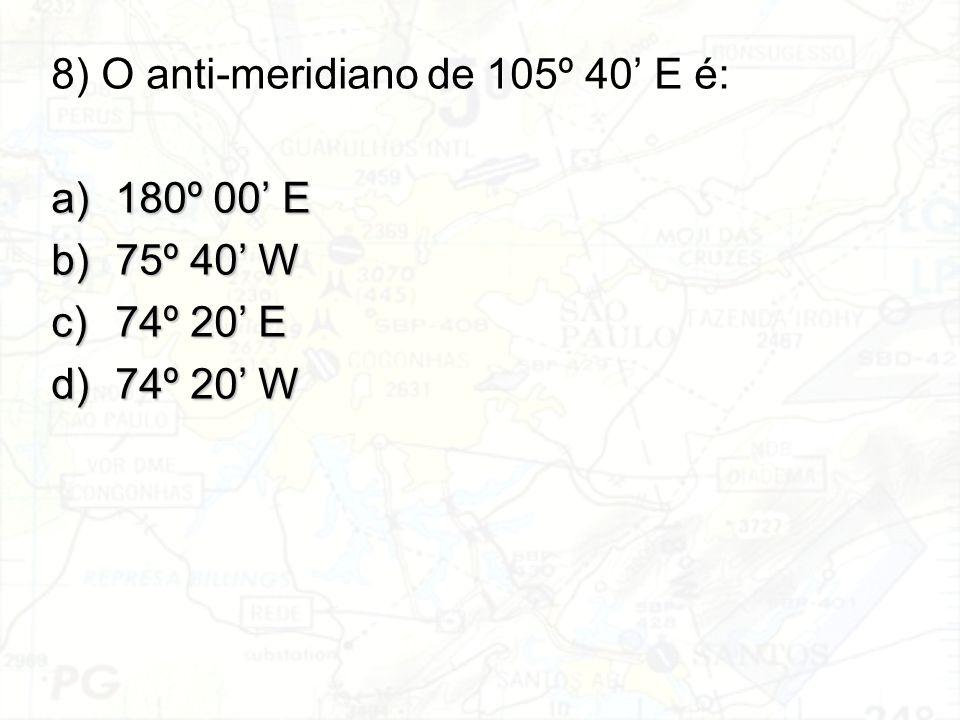 8) O anti-meridiano de 105º 40' E é: