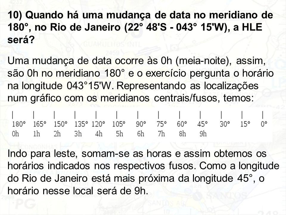 10) Quando há uma mudança de data no meridiano de 180°, no Rio de Janeiro (22° 48 S - 043° 15 W), a HLE será