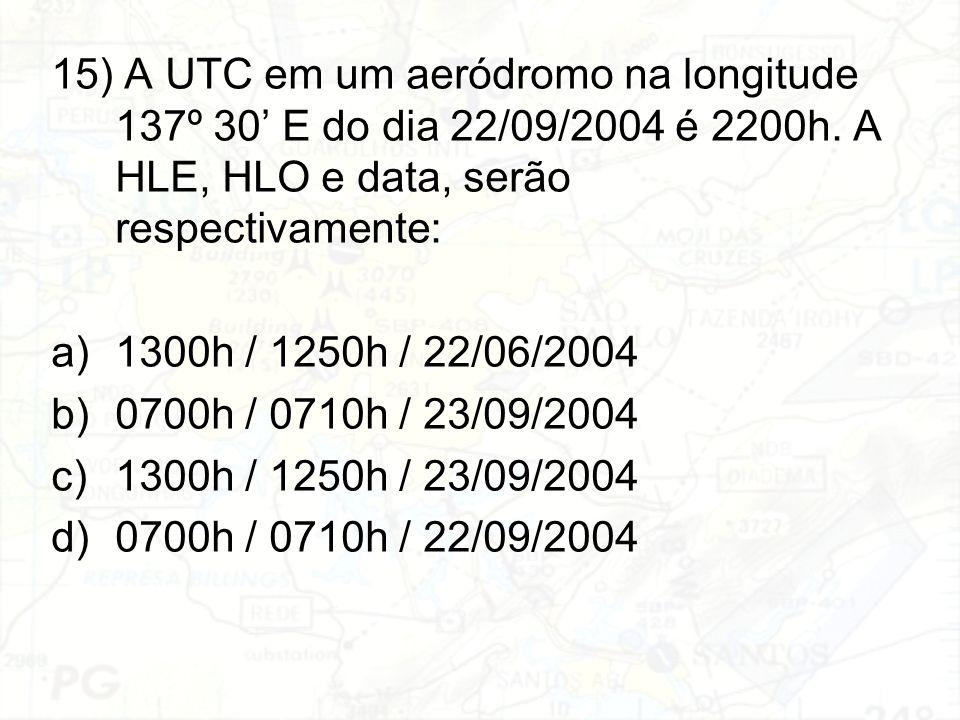 15) A UTC em um aeródromo na longitude 137º 30' E do dia 22/09/2004 é 2200h. A HLE, HLO e data, serão respectivamente: