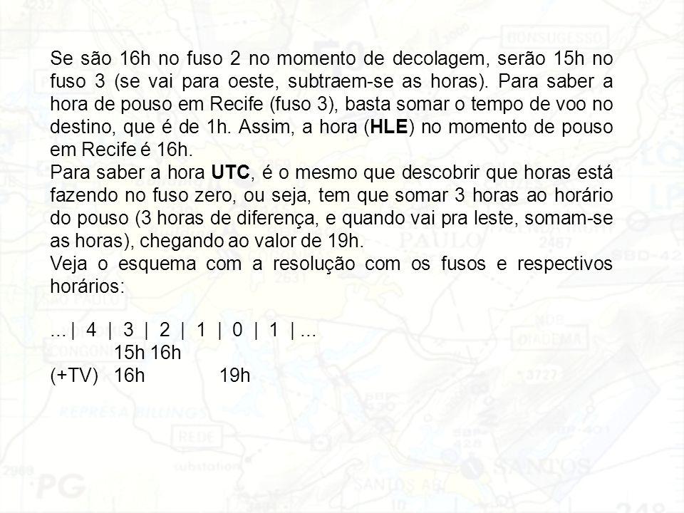 Se são 16h no fuso 2 no momento de decolagem, serão 15h no fuso 3 (se vai para oeste, subtraem-se as horas). Para saber a hora de pouso em Recife (fuso 3), basta somar o tempo de voo no destino, que é de 1h. Assim, a hora (HLE) no momento de pouso em Recife é 16h.