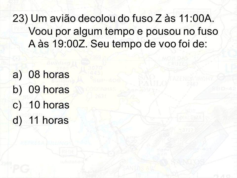 23) Um avião decolou do fuso Z às 11:00A