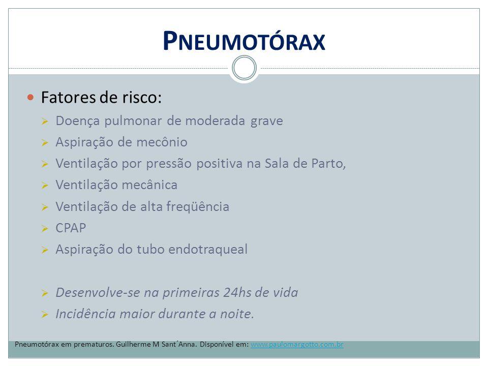 Pneumotórax Fatores de risco: Doença pulmonar de moderada grave