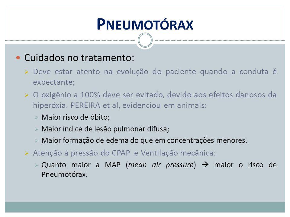 Pneumotórax Cuidados no tratamento: