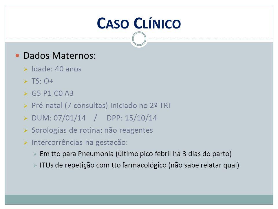 Caso Clínico Dados Maternos: Idade: 40 anos TS: O+ G5 P1 C0 A3