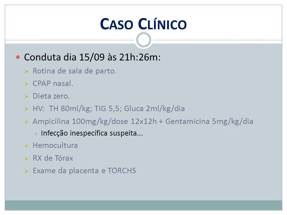 Caso Clínico Conduta dia 15/09 às 21h:26m: Rotina de sala de parto.