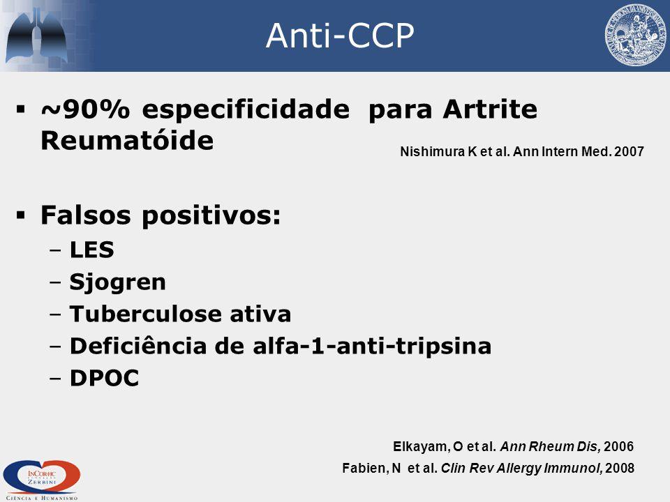 Anti-CCP ~90% especificidade para Artrite Reumatóide Falsos positivos:
