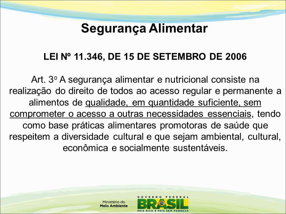 Segurança Alimentar LEI Nº 11.346, DE 15 DE SETEMBRO DE 2006