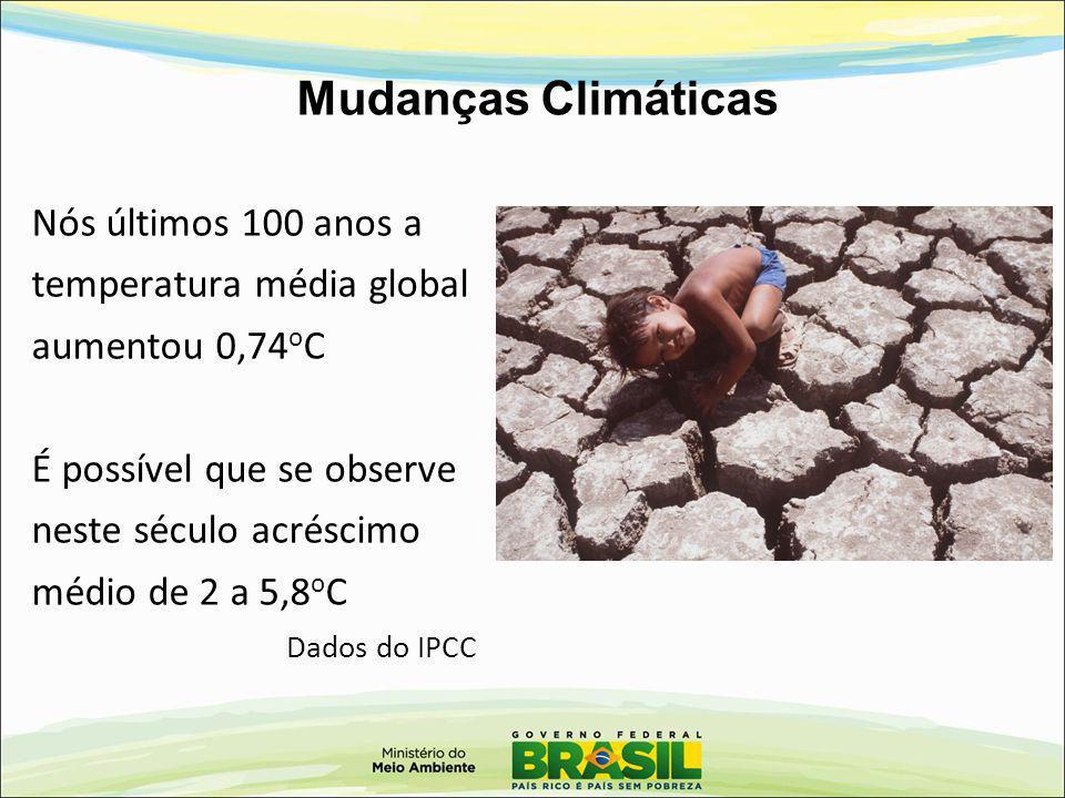 Mudanças Climáticas Nós últimos 100 anos a temperatura média global