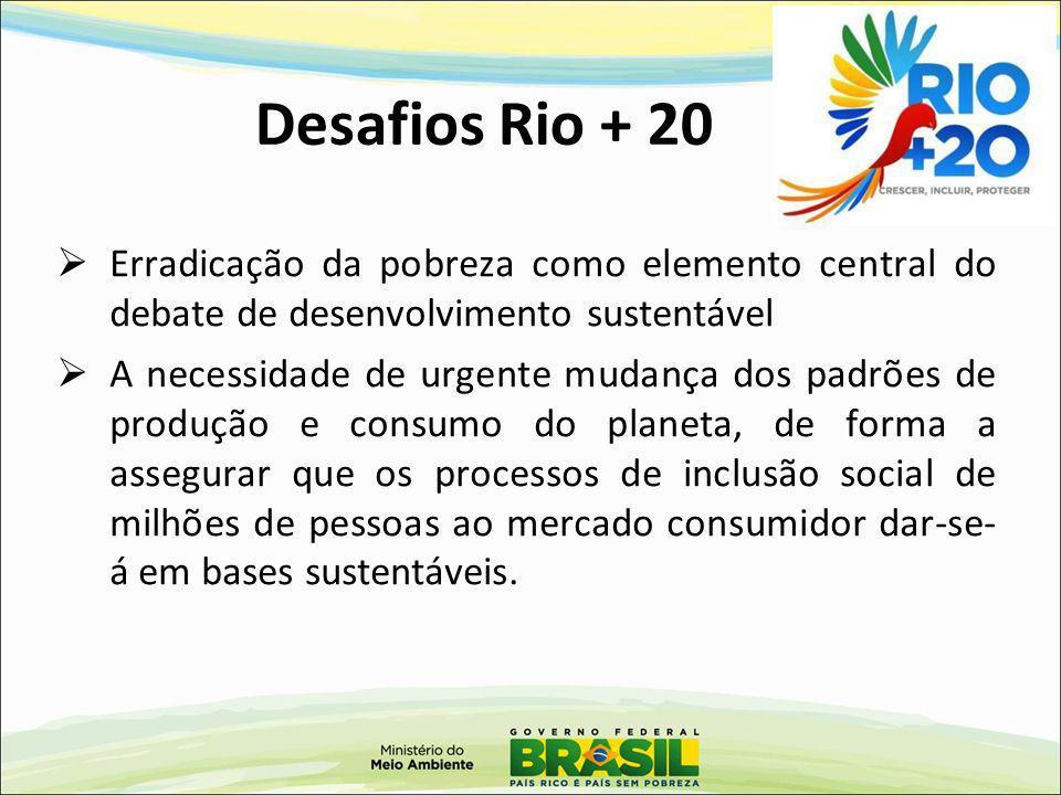 Desafios Rio + 20 Erradicação da pobreza como elemento central do debate de desenvolvimento sustentável.