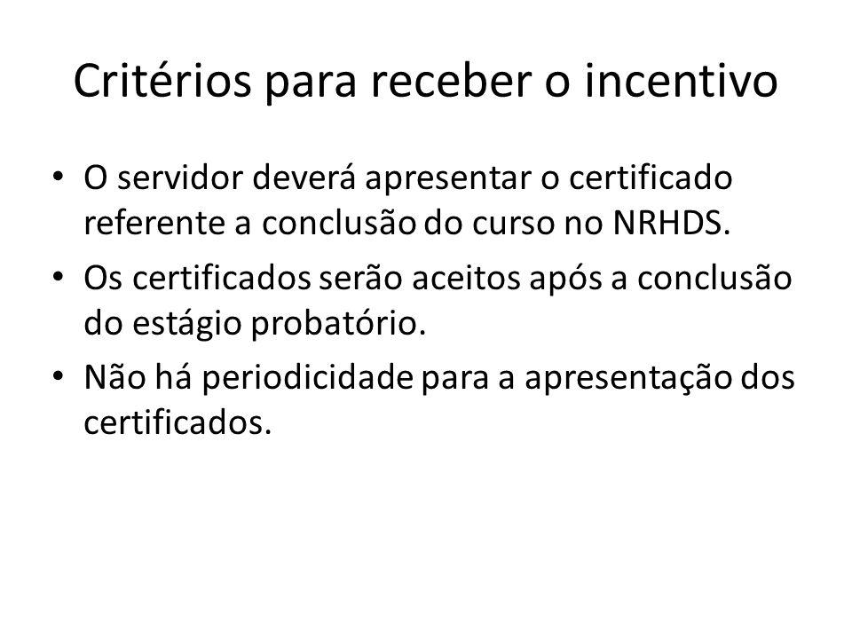 Critérios para receber o incentivo