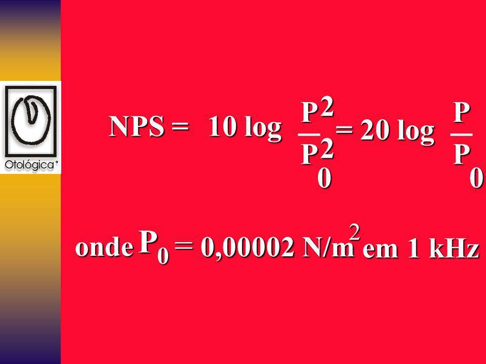 NPS = 10 log P = 20 log 2 2 P onde = 0,00002 N/m em 1 kHz