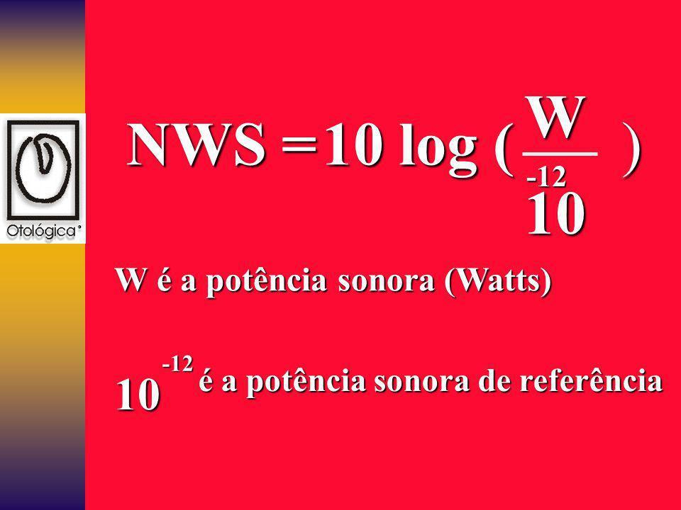 W NWS = 10 log ( ) 10 10 W é a potência sonora (Watts)