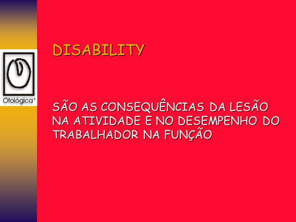 DISABILITY SÃO AS CONSEQUÊNCIAS DA LESÃO