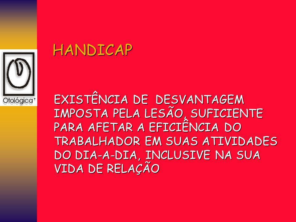 HANDICAP EXISTÊNCIA DE DESVANTAGEM IMPOSTA PELA LESÃO, SUFICIENTE