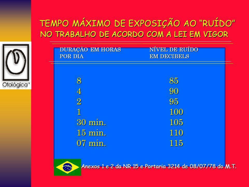TEMPO MÁXIMO DE EXPOSIÇÃO AO RUÍDO