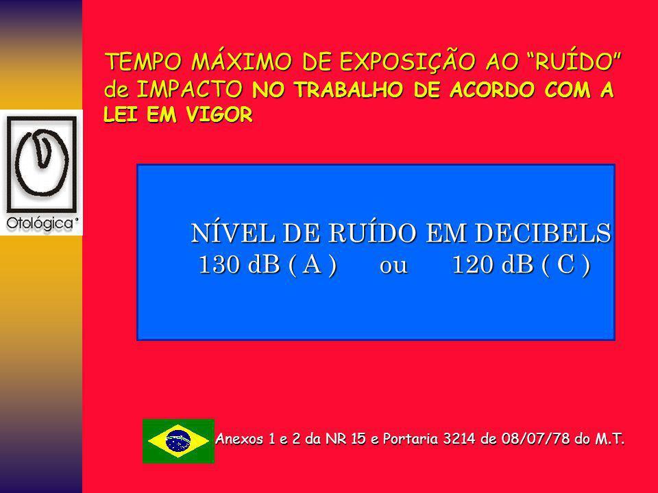 NÍVEL DE RUÍDO EM DECIBELS 130 dB ( A ) ou 120 dB ( C )
