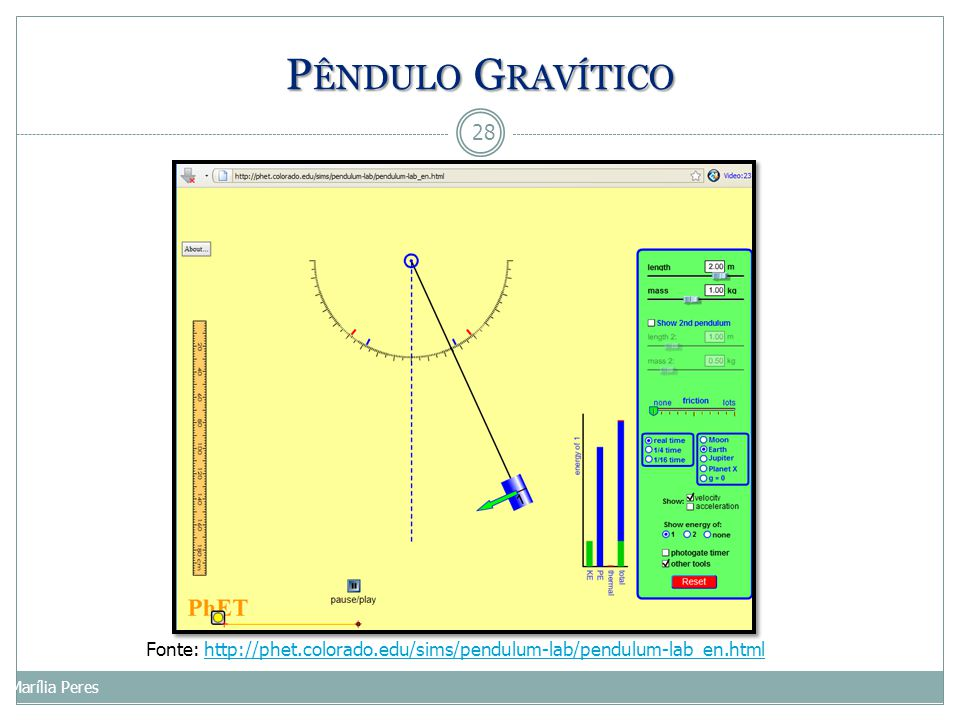 Pêndulo Gravítico Fonte: http://phet.colorado.edu/sims/pendulum-lab/pendulum-lab_en.html.