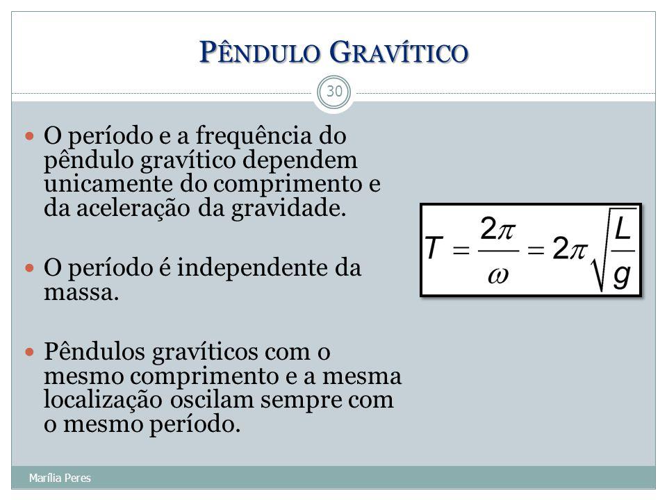 Pêndulo Gravítico O período e a frequência do pêndulo gravítico dependem unicamente do comprimento e da aceleração da gravidade.